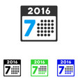 2016 week calendar flat icon vector image
