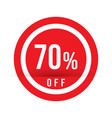 70 percent off - red sale stamp - special offer vector image vector image