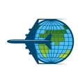 airplane flying around earth vector image vector image