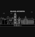 antwerpen silhouette skyline belgium - antwerpen vector image