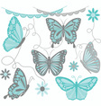 Aqua and Grey Butterfly Collections vector image vector image