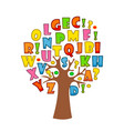 art tree with letters of alphabet vector image vector image