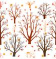 autumn forest trees pattern a woodland background vector image vector image