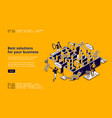best business solutions isometric landing page vector image vector image