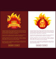 blazed signs with flame informative web banner set vector image vector image