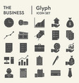 business glyph icon set office symbols collection vector image