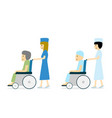 cancer patient on wheelchair and nurse vector image