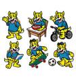 cartoon character set of cute little wildcat vector image vector image