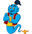 cartoon genie coming out of a magic lamp vector image