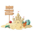 cartoon island with a sandy house vector image vector image