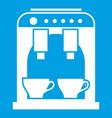 coffee machine icon white vector image vector image