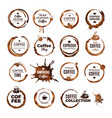coffee rings badges labels with dirty circles vector image