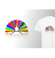 colorful peacock tail print stylish t-shirt vector image