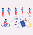 creative profession character - poses action set vector image