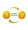 currency exchange gold dollar and bitcoin coins vector image vector image