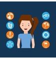 cute girl character summer vacation icons set vector image vector image