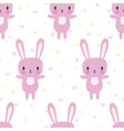 cute seamless pattern with cartoon bunny cartoon vector image vector image