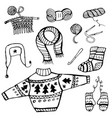 doodle knitting and crochet knitted things black vector image vector image