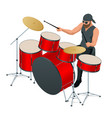 drummer behind drum set rehearsal base vector image