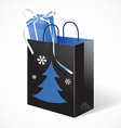 Festive black paper-bag with christmas tree vector image vector image