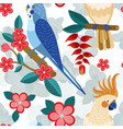 flat pattern with exotic parrots and flowers vector image vector image