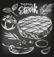 food meat steak roast vegetable set hand drawn vector image
