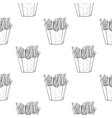 french fries as seamless pattern black and white vector image