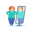 full girl looks in mirror wanting to lose weight vector image vector image