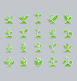 green grass patch sticker icons set vector image