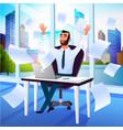 happy businessman enjoying success cartoon vector image