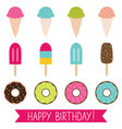 Ice cream and donuts set vector image vector image