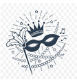 icon mardi gras mask black and white vector image vector image