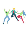 jumping character in various poses group of young vector image