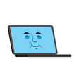 laptop sleeping emoji face avatar computer fell vector image