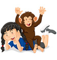 Little girl and cute monkey vector image vector image
