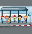 many people waiting at the bus stop vector image vector image