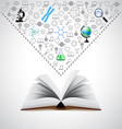Opened book and many science icons above it vector image