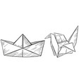 paper origami for boat and bird vector image