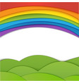 Rainbow background with green field Paper vector image