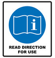read direction for use icon refer to instruction vector image vector image