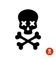 scull and crossbones logo with x eyes vector image