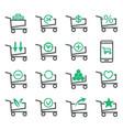 set shopping cart isolated on white background vector image