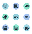 set simple knowledge icons vector image vector image
