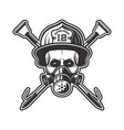 skull in respirator and firefighter helmet vector image vector image