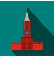 Spasskaya tower of Moscow Kremlin icon flat style vector image vector image