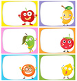 Square label design with fresh fruits vector image vector image