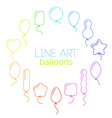 thin line icon set of rainbow balloons of vector image vector image
