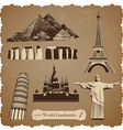 travel icon set1 sepia silhouettes vector image vector image