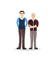 two man young senior full length cartoon male vector image