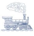 vintage steam locomotive logo design vector image vector image
